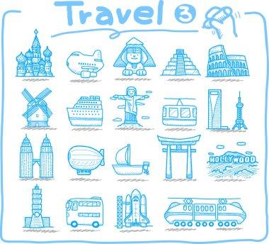 Travel ,landmark,transportation icon set