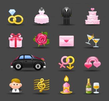 Dark Series. wedding,love,valentine icon set clip art vector