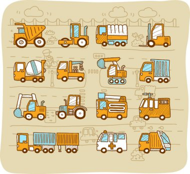 Cars,transportati on, automobile, work machine icon set