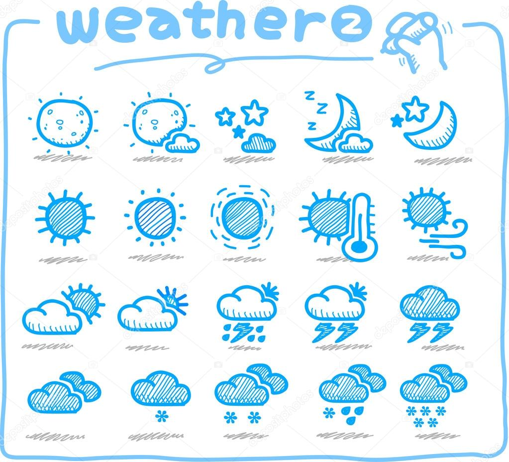 Hand drawn weather icon, weather forecast