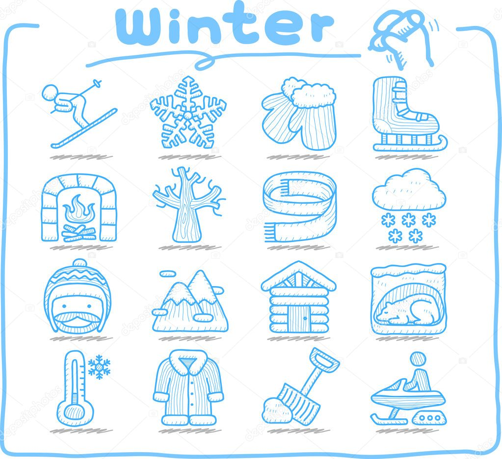 Hand drawn Winter , Season , icon set