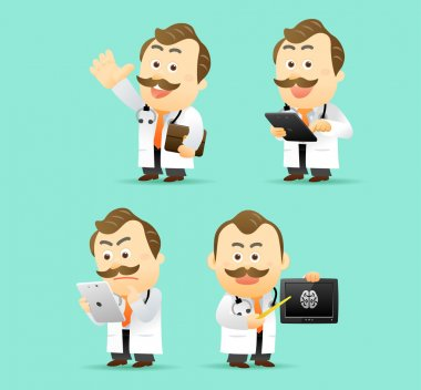 Doctor with tablet PC set, vector illustration stock vector