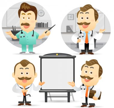 Doctor giving presentation with projection screen.