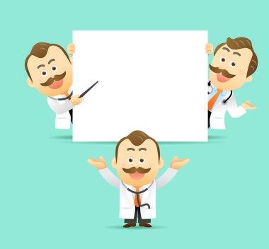 Doctor holding blank board