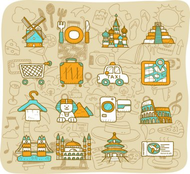 Travel, and landmarks icons