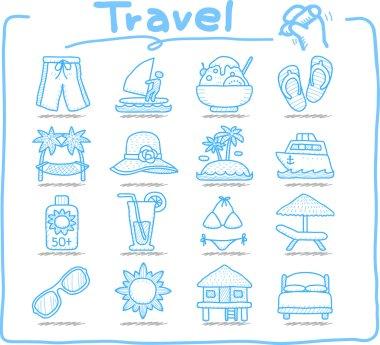 Vacation, travel icons set