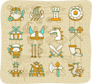 Viking icons set