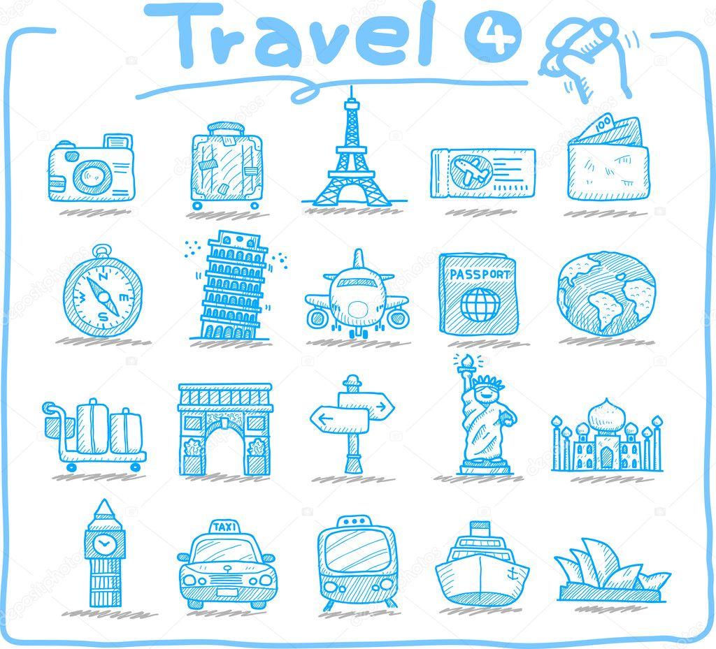 Hand drawn travel icons