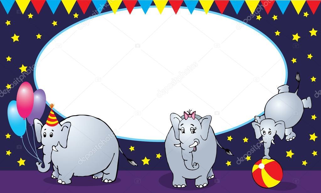 Zirkus Elefanten Familie Fotorahmen oder Karte — Stockvektor ...