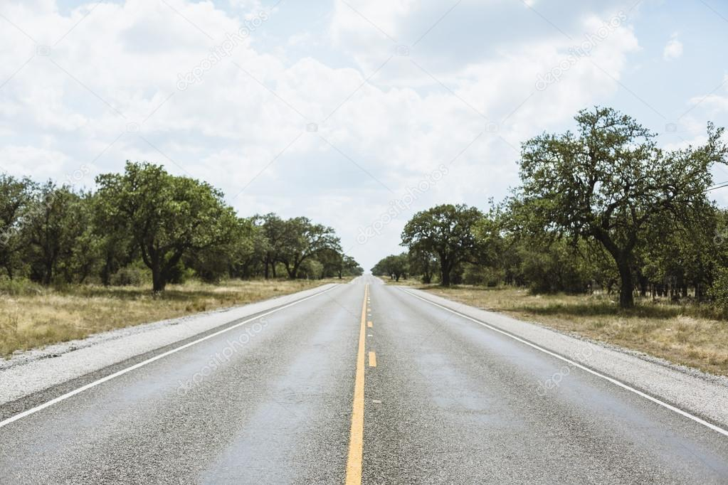 Infinate straight road in Texas