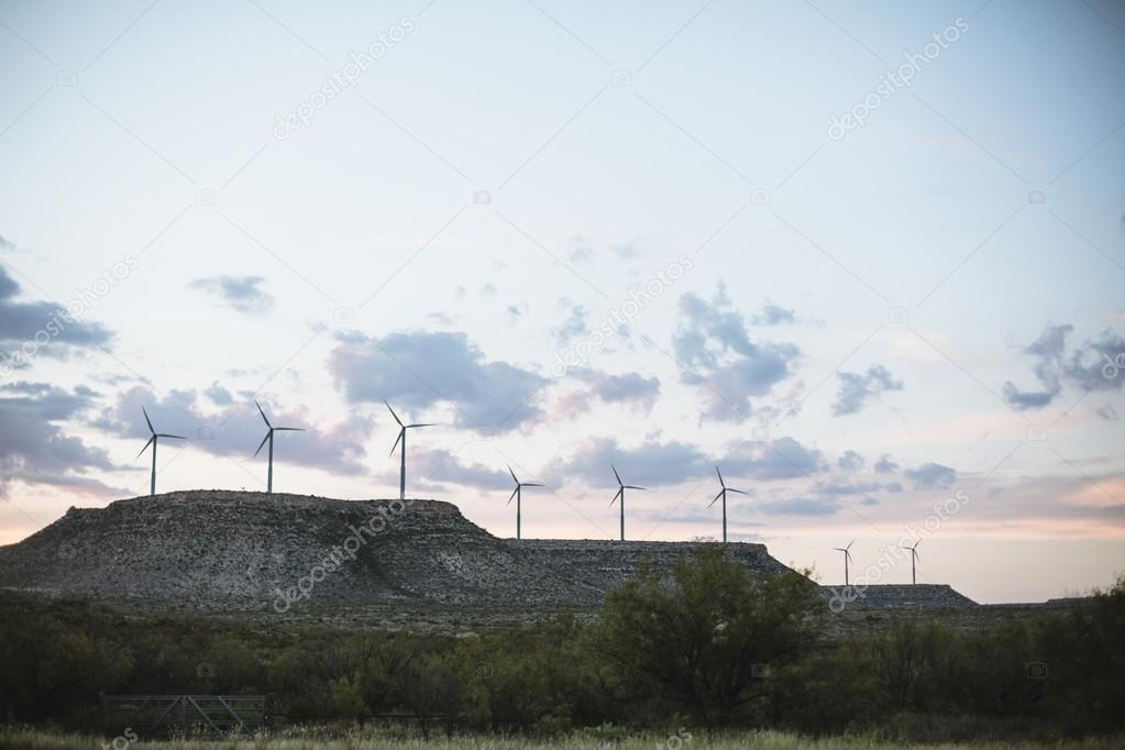 Windmill farm in Texas countryside