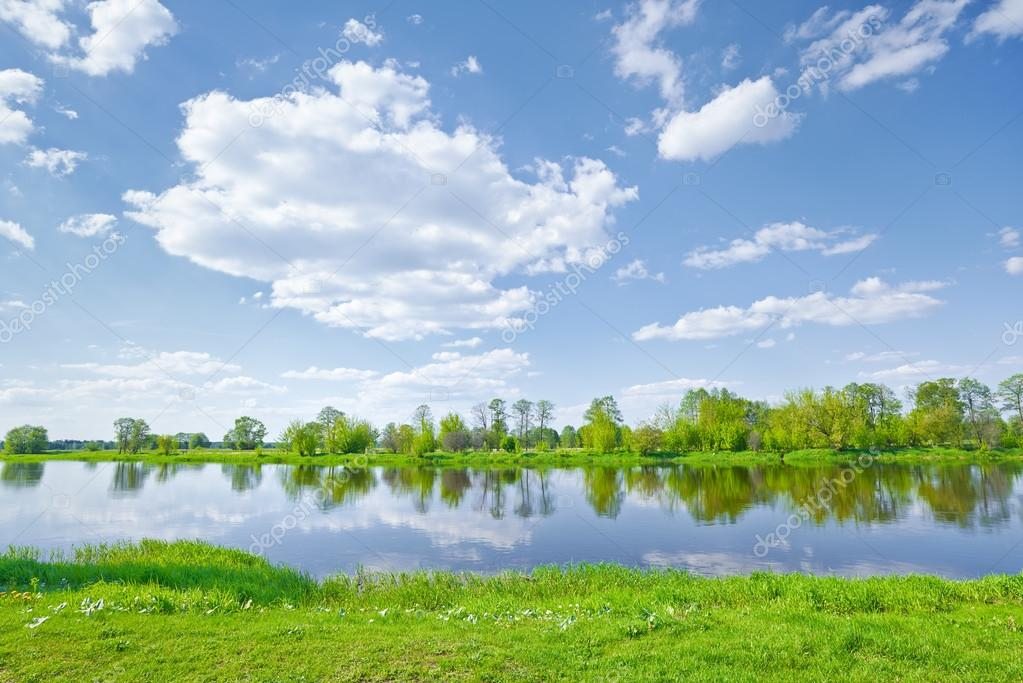 Фотообои Sunny spring landscape by The Narew River.