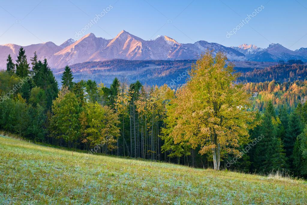 Beautiful dawn over The High Tatra Mountains, Carpathians.