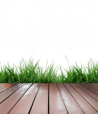 Wooden terrace on white background
