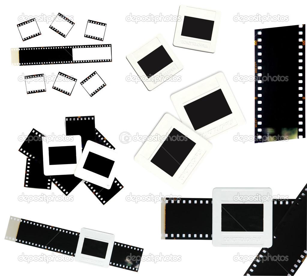 marco cine y diapositivas de 35mm aislado — Foto de stock © anankkml ...