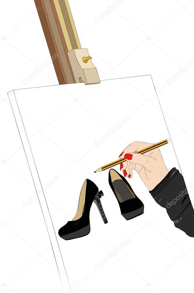 7e95c9e7 Красивая обувь в выставке — Векторное изображение © francofox #28099203
