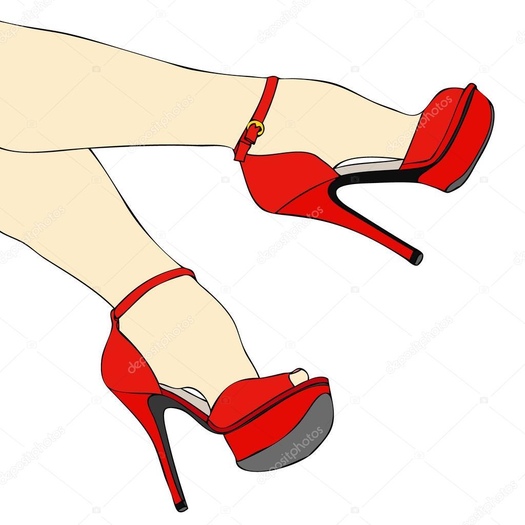 sexy Beine und Füße mit Schuhen — Stockvektor © francofox #39546063