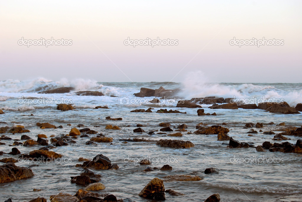 Wind, waves, and the stormy sea at Anzio