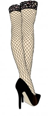 Legs with fishnet stockings