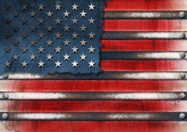 USA Grunge Metal Flag