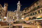Fotografia Piazza delle erbe di notte a verona Italia