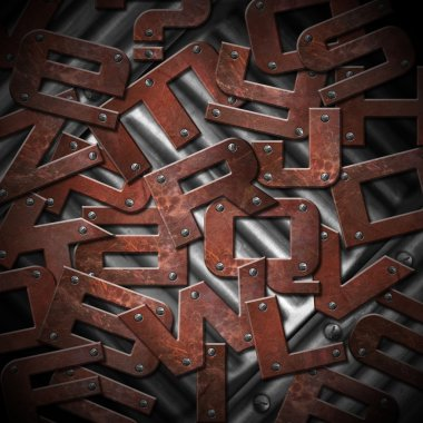 Rusty Metal Letters Background