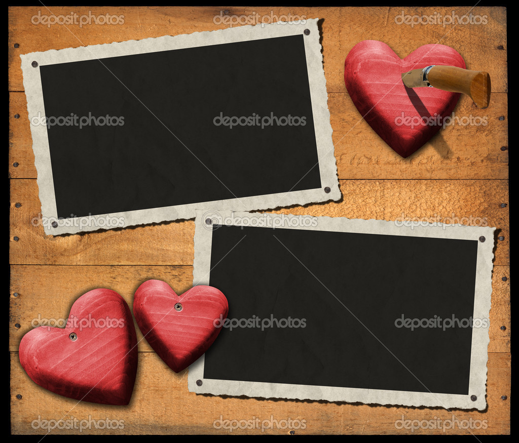 Two Romantic Photo Frames on Wood Wall — Stock Photo © catalby #34107855
