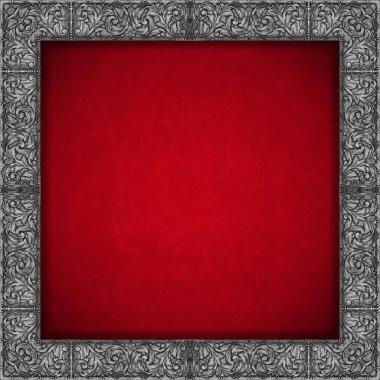 Silver Floral Frame on Red Velvet Background