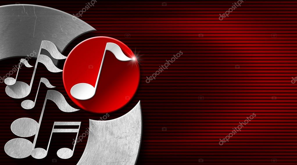 Red And Black Corrugated Background With Metal White Musical Notes