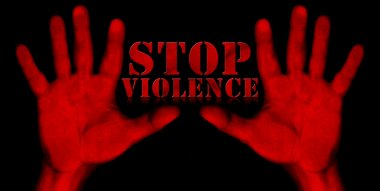 Stop Violence - Red Hands