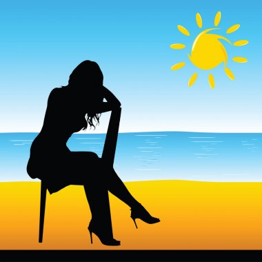 girl sitting on the chair on the beach vector illustration