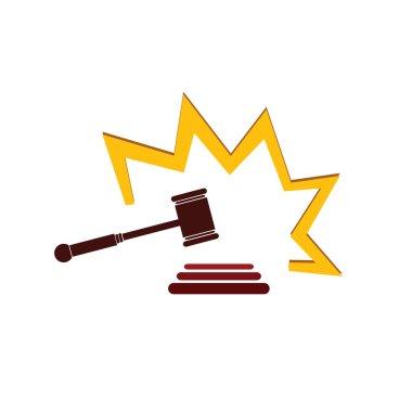 hammer court in color art vector illustration