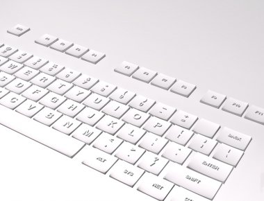 3D Keyboard on white background
