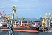 散货船在港口起重机下
