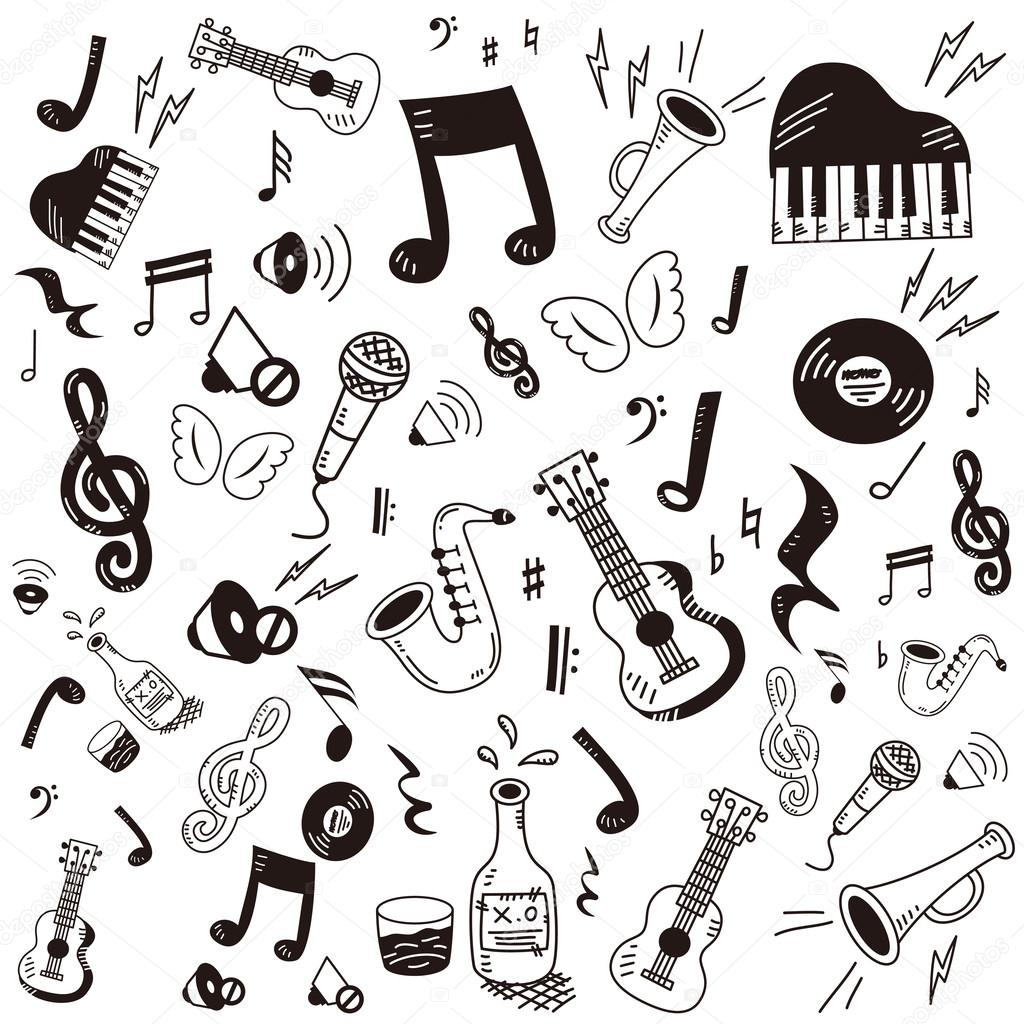 Hand drawn,doodle music icon set