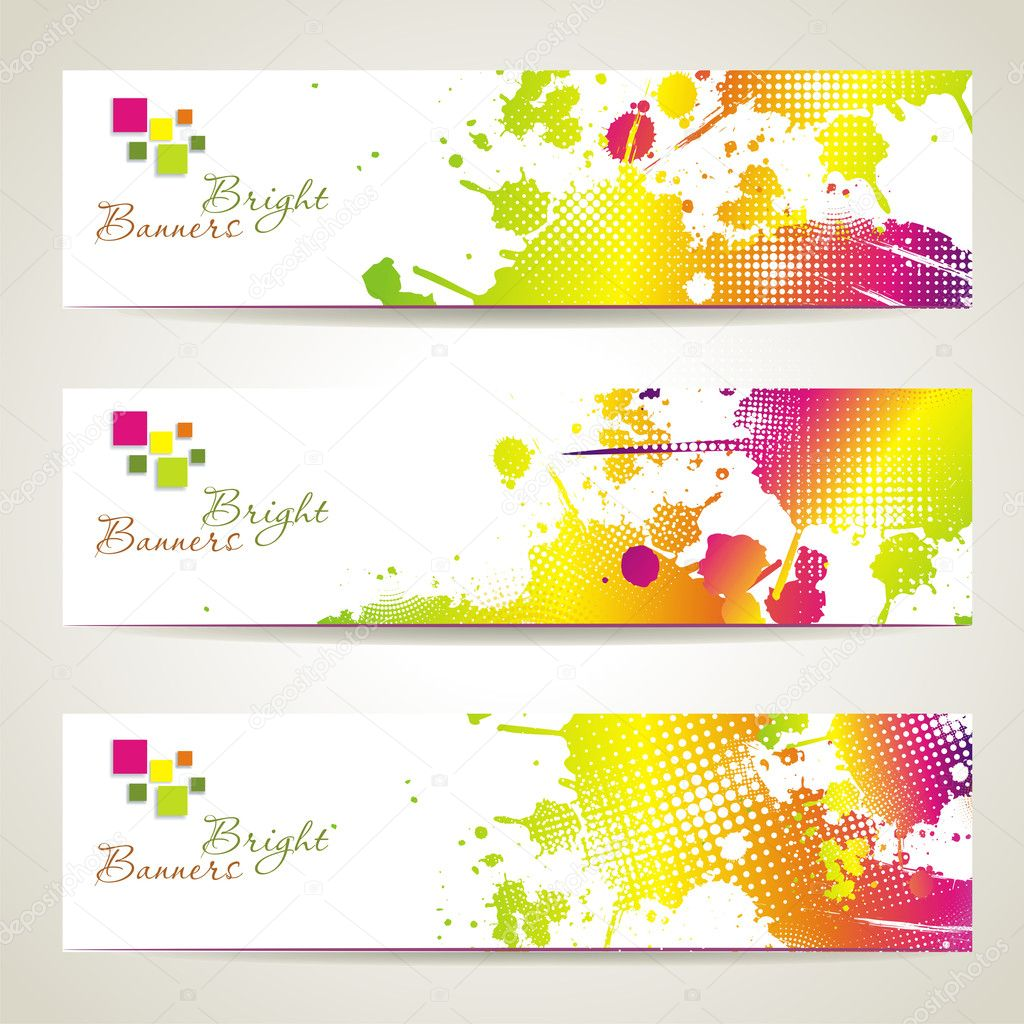Set of three banners, abstract headers with bright blots