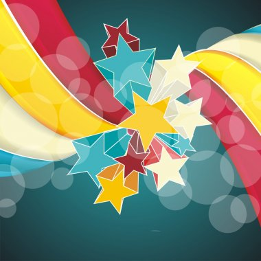Ribbons and stars isolated on white background.