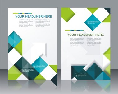 Vector brochure template design with cubes and arrows elements. stock vector