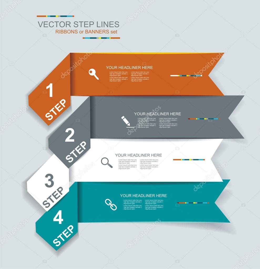 Step Lines Set, Web Banners, Origami.