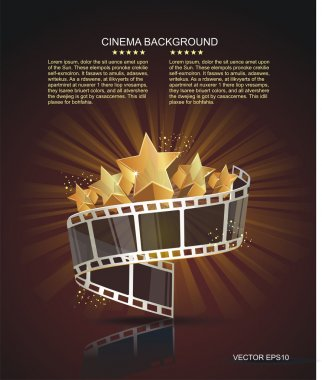 Film strip roll with gold stars. Vector cinema background. stock vector
