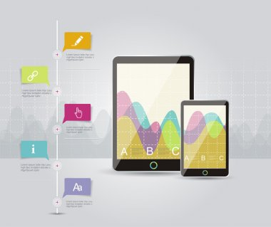 Infographic design template with laptop.