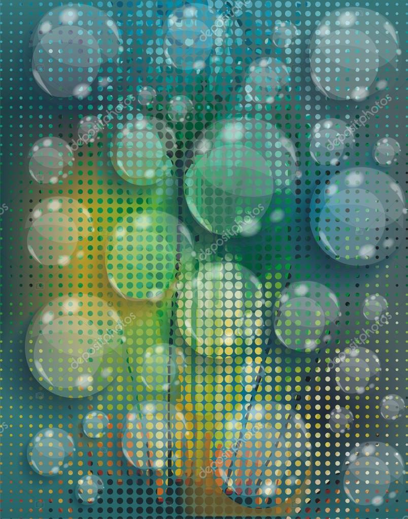 Water drops on flowers background, vector