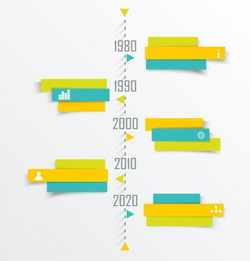 Time Line design template with paper tags.