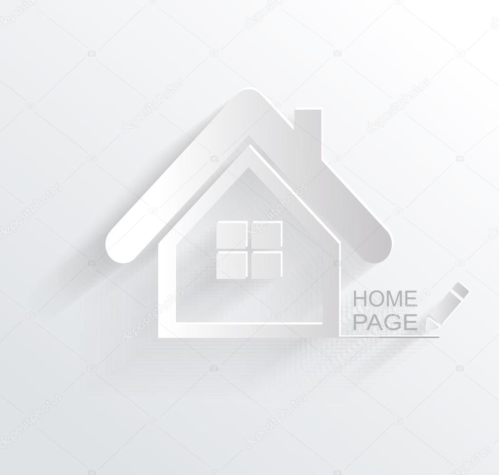 Vector Symbol Of House White Paper Origami Home Icon Stock