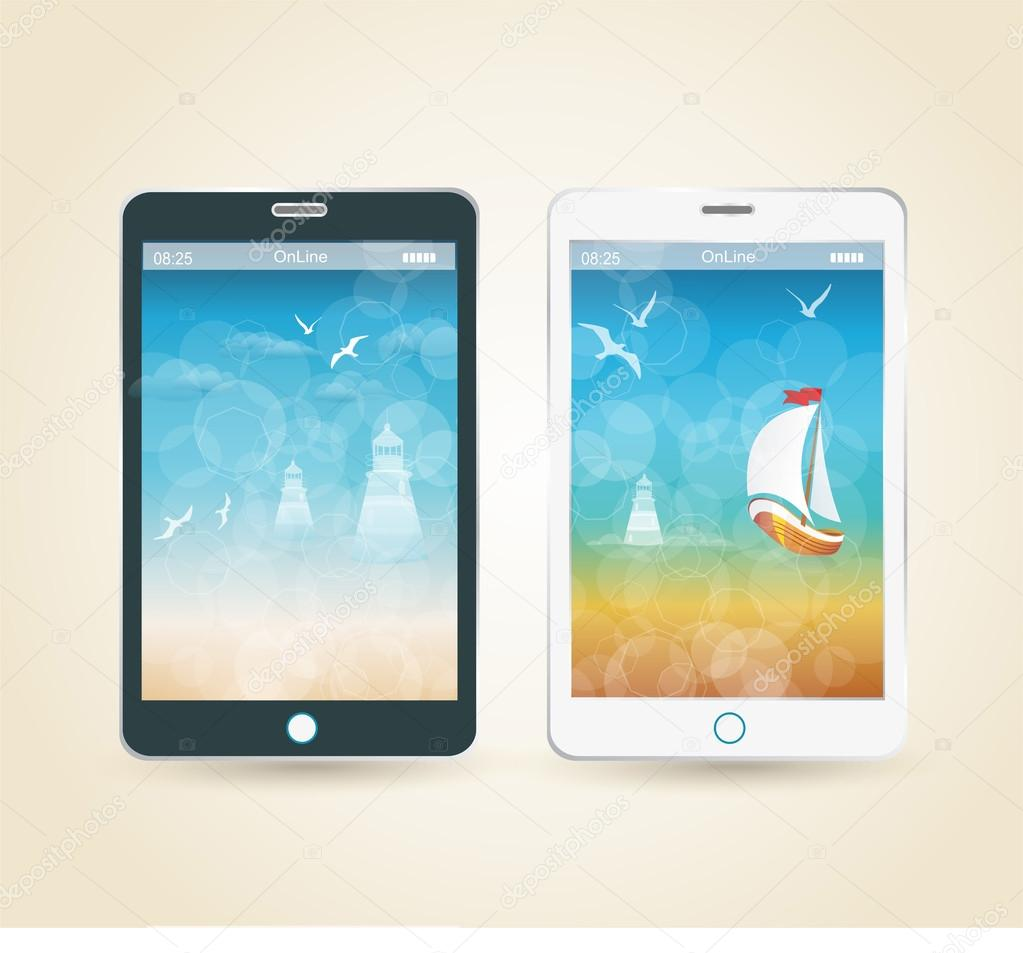 Smartphones with picture of beach and tropical sea