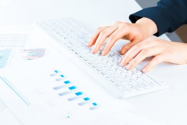 Female hands typing on a keyboard text stock vector