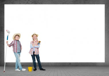 Image of a children stand near a white blank wall, space for text stock vector