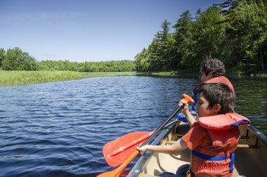 Kids Padding in Canoe