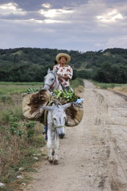 Woman riding a horse in Colombia
