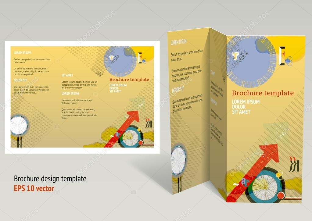 Brochure, booklet z-fold layout  Editable design template